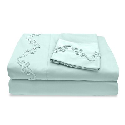 300 Thread Count Egyptian Quality Cotton Sheet Set with Chenille Scroll Color: Blue, Size: Twin