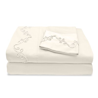 300 Thread Count Egyptian Quality Cotton Sheet Set with Chenille Scroll Color: Ivory, Size: California King