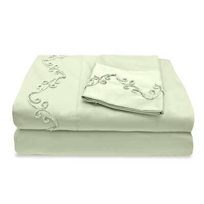 300 Thread Count Egyptian Quality Cotton Sheet Set with Chenille Scroll Color: Sage, Size: California King