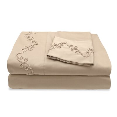 300 Thread Count Egyptian Quality Cotton Sheet Set with Chenille Scroll Size: Queen, Color: Taupe
