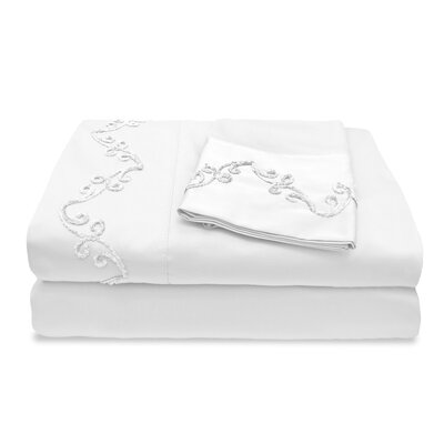 300 Thread Count Egyptian Quality Cotton Sheet Set with Chenille Scroll Size: Twin, Color: White