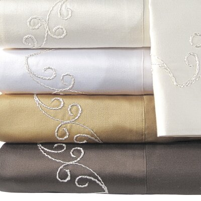 Supreme Sateen 800 Thread Count Scroll Pillowcase Color: Espresso, Size: Standard