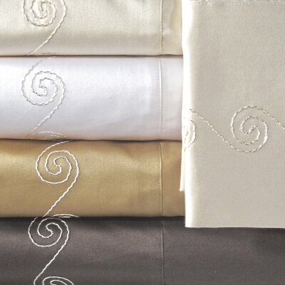 Supreme Sateen 800 Thread Count Swirl Pillowcase Color: Ivory, Size: King