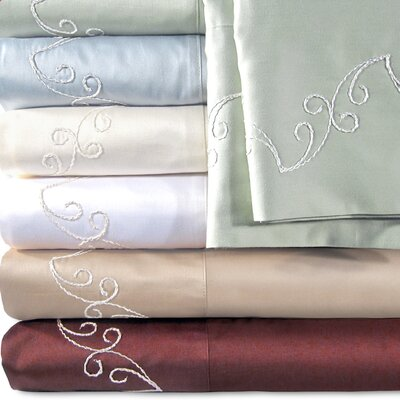 Supreme Sateen 500 Thread Count Scroll Pillowcase Color: White, Size: King