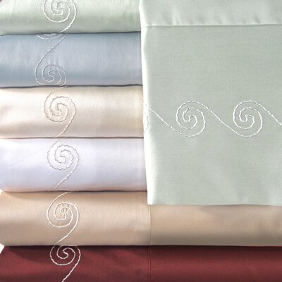 Supreme Sateen 500 Thread Count Swirl Pillowcase Color: White, Size: King