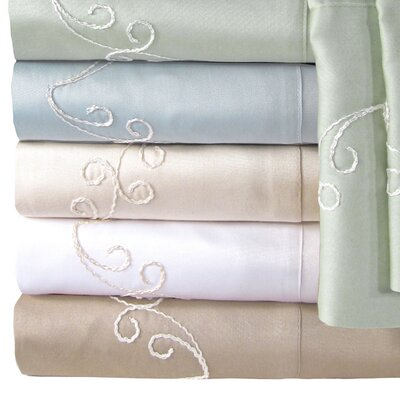 Supreme Sateen 300 Thread Count Scroll Pillowcase Color: Blue, Size: Standard