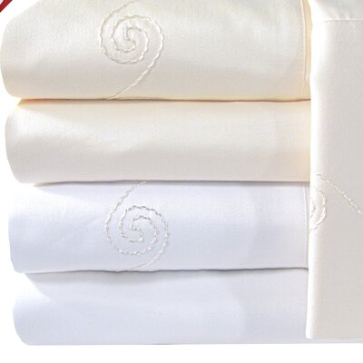 Supreme Sateen 1200 Thread Count Swirl Pillowcase Size: Standard, Color: White