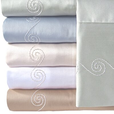 Supreme Sateen 300 Thread Count Swirl Pillowcase Color: Blue, Size: King