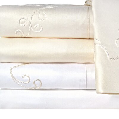 Supreme Sateen 1200 Thread Count Scroll Pillowcase Color: Ivory, Size: Standard