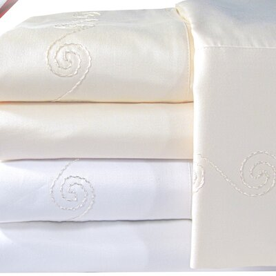Supreme Sateen 1200 Thread Count Swirl Sheet Set Color: Ivory, Size: Full