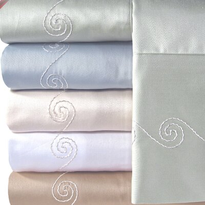 Supreme Sateen 300 Thread Count Swirl Sheet Set Color: Blue, Size: California King
