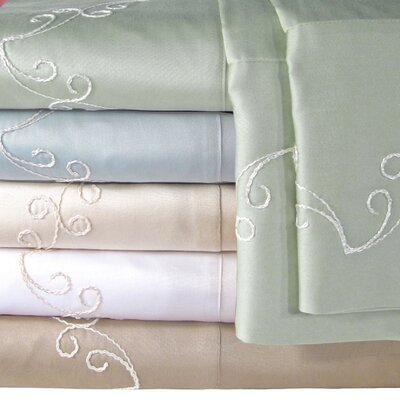 Supreme Sateen 300 Thread Count Scroll Sheet Set Color: Blue, Size: Queen