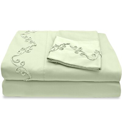 500 Thread Count Egyptian Quality Cotton Sheet Set with Chenille Scroll Color: Sage, Size: Full
