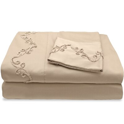 500 Thread Count Egyptian Quality Cotton Sheet Set with Chenille Scroll Color: Taupe, Size: King