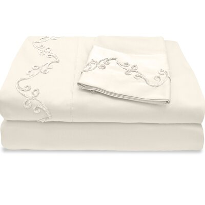 500 Thread Count Egyptian Quality Cotton Sheet Set with Chenille Scroll Size: Queen, Color: Ivory