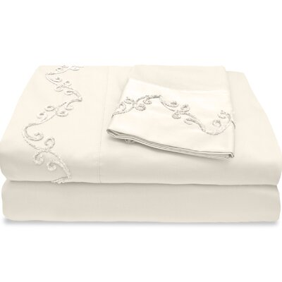 800 Thread Count Egyptian Quality Cotton Sheet Set with Chenille Scroll Color: Ivory, Size: Queen