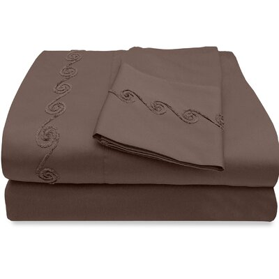 800 Thread Count Egyptian Quality Cotton Sheet Set with Chenille Swirl Color: Espresso, Size: King