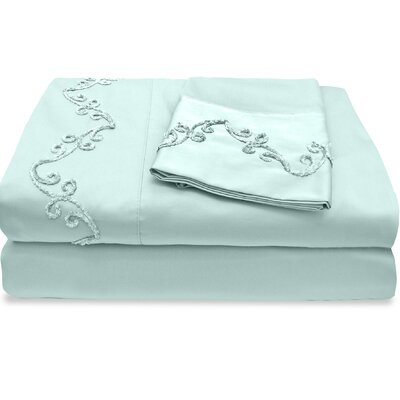 500 Thread Count Egyptian Quality Cotton Sheet Set with Chenille Scroll Color: Blue, Size: Twin