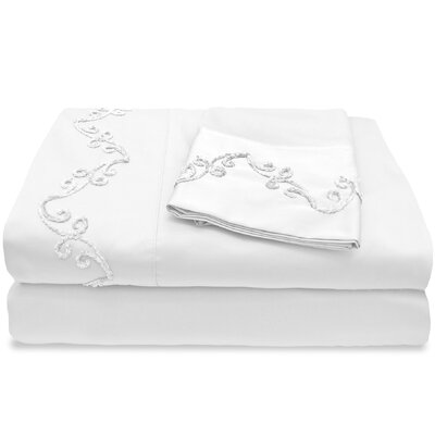 500 Thread Count Egyptian Quality Cotton Sheet Set with Chenille Scroll Size: Queen, Color: White