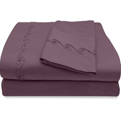 500 Thread Count Egyptian Quality Cotton Sheet Set with Chenille Swirl Color: Mulberry, Size: Queen