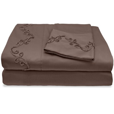 800 Thread Count Egyptian Quality Cotton Sheet Set with Chenille Scroll Color: Espresso, Size: California King