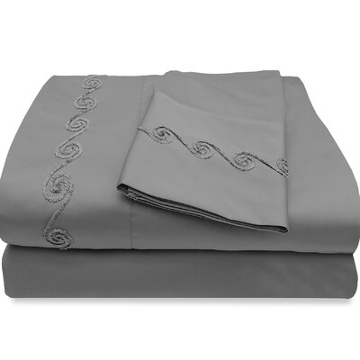 500 Thread Count Egyptian Quality Cotton Sheet Set with Chenille Swirl Color: Pewter, Size: Full