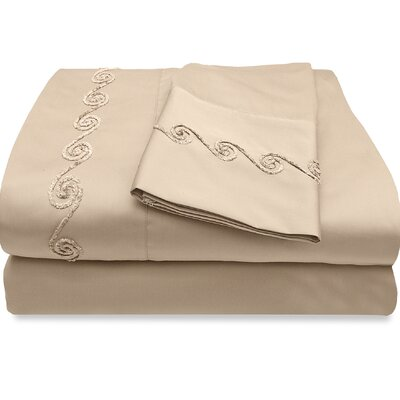 300 Thread Count Egyptian Quality Cotton Sheet Set with Chenille Swirl Size: Twin, Color: Taupe