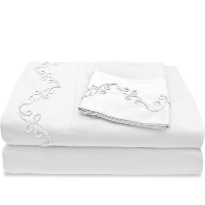 800 Thread Count Egyptian Quality Cotton Sheet Set with Chenille Scroll Size: Full, Color: White