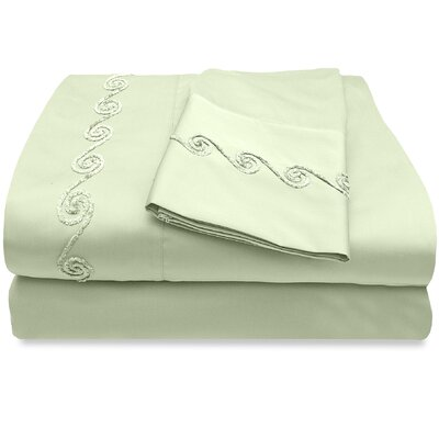 300 Thread Count Egyptian Quality Cotton Sheet Set with Chenille Swirl Color: Sage, Size: King