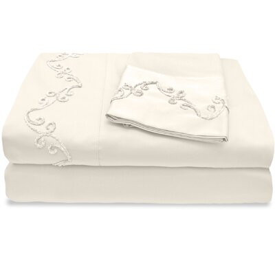 1200 Thread Count Egyptian Quality Cotton Sheet Set with Chenille Scroll Color: Ivory, Size: King