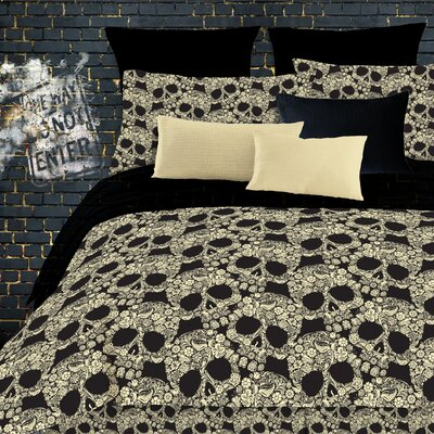 Flower Skulls Comforter Set Size: Full