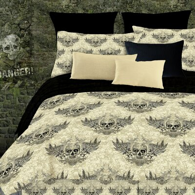 Winged Skull Comforter Set Size: Twin