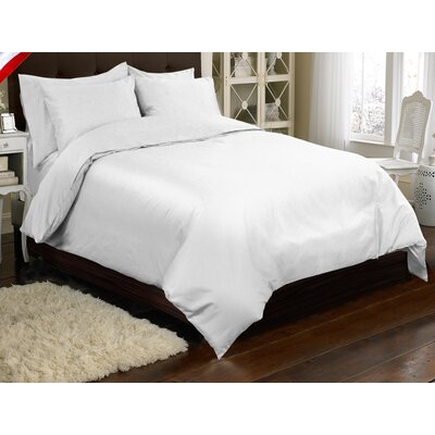 Supreme Sateen 3 Piece Reversible Duvet Cover Set Color: White, Size: Queen