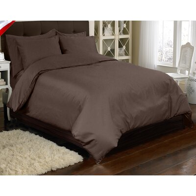 Supreme Sateen 3 Piece Reversible Duvet Cover Set Color: Espresso, Size: King