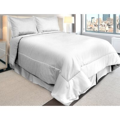 Supreme Sateen Comforter Set Color: White, Size: Queen