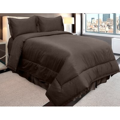 Supreme Sateen Comforter Set Color: Espresso, Size: Queen
