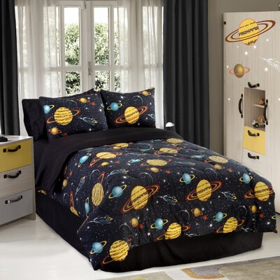 Glow in The Dark Rocket Star Comforter Set Size: Queen