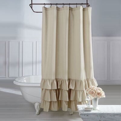 Stephania Vintage Ruffle Linen Shower Curtain