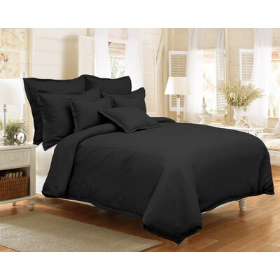Brownstown Linen Duvet Set Color: Black, Size: King