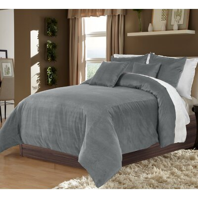 Ted 3 Piece Duvet Set Size: King, Color: Gray