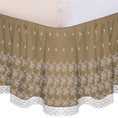 Embroidered Bed Skirt Size: Queen