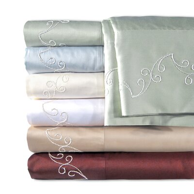 Supreme Sateen 500 Thread Count Scroll Sheet Set Color: Blue, Size: Twin