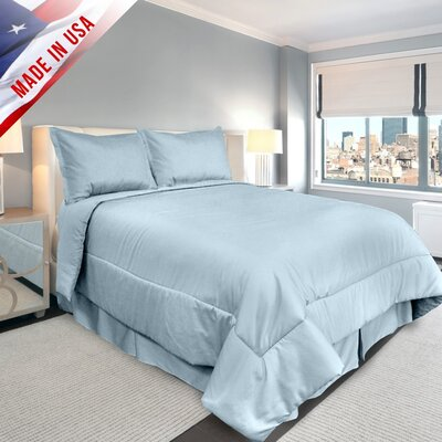 Supreme Sateen Comforter Set Color: Blue, Size: Queen