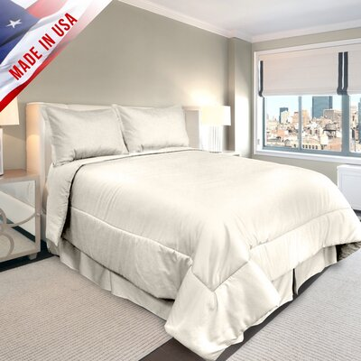 Supreme Sateen Comforter Set Color: Ivory, Size: Queen