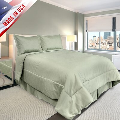 Supreme Sateen Comforter Set Color: Sage, Size: Full