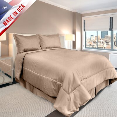 Supreme Sateen Comforter Set Color: Taupe, Size: Full