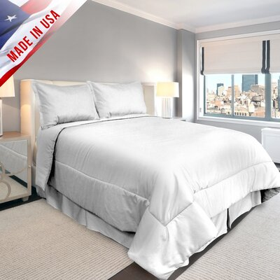 Supreme Sateen Comforter Set Color: White, Size: California King