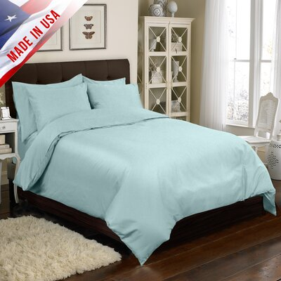 Supreme Sateen Duvet Cover Set Color: Blue, Size: King