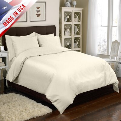 4 Piece Duvet Cover Set Color: Ivory, Size: Queen