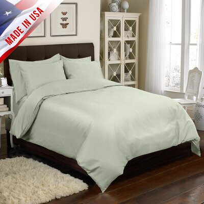 Supreme Sateen Duvet Cover Set Color: Sage, Size: Full